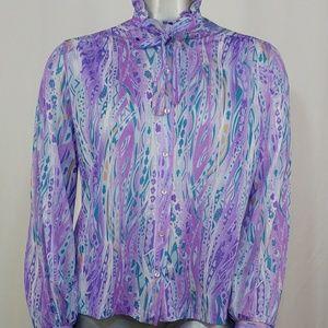 Vintage Lightweight Lavender Ruffle Blouse, 16